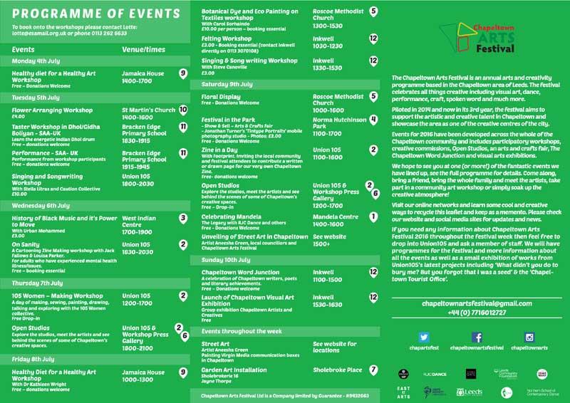 Chapeltown Arts Festival - Leaflet